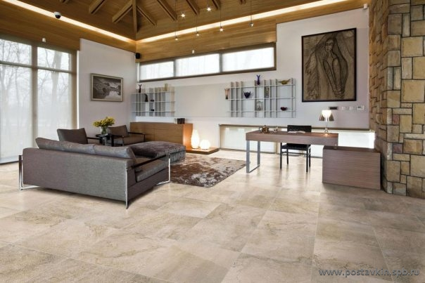 плитка Apavisa Neocountry в интерьере цвет Beige 60x60 Nat