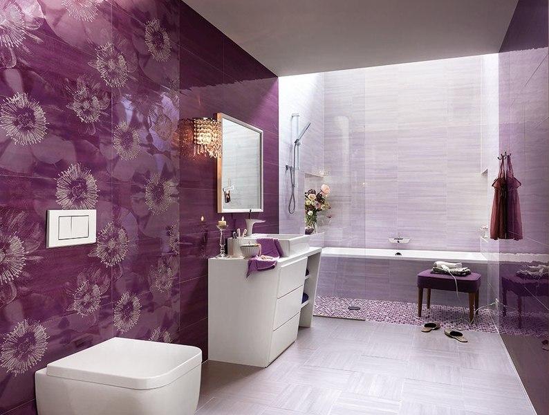 Ванная комната дизайн плитка в сиреневом цвете