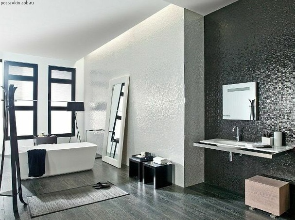 плитка Porcelanosa Matrix в интерьере цвет Nacar и Antracita